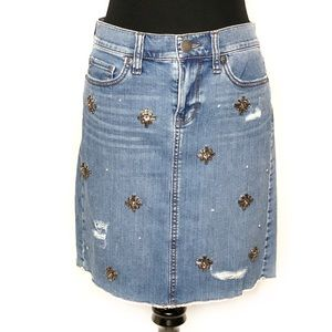 Ann Taylor Loft Distressed Embellished Denim Skirt